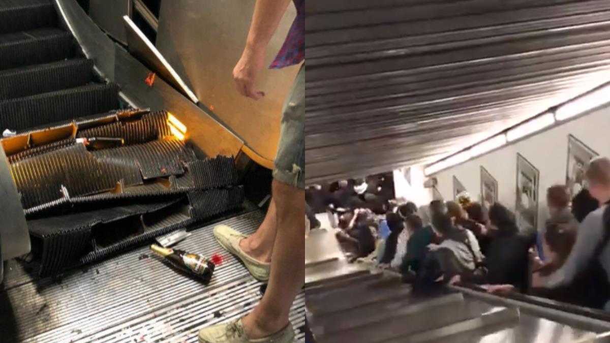 驚悚!羅馬地鐵電扶梯塌陷 尖叫聲四起20人疊人掛彩