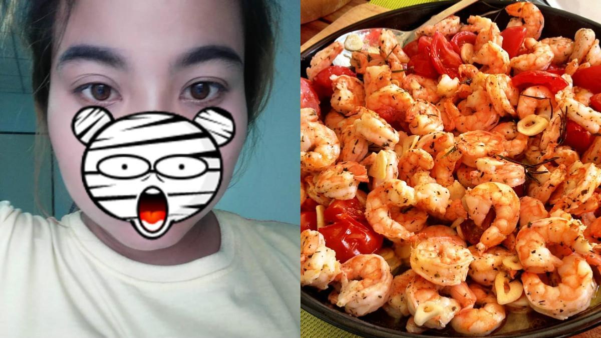 大眼妹吃2隻鹹酥蝦 不到10分鐘性感唇…慘變香腸嘴!