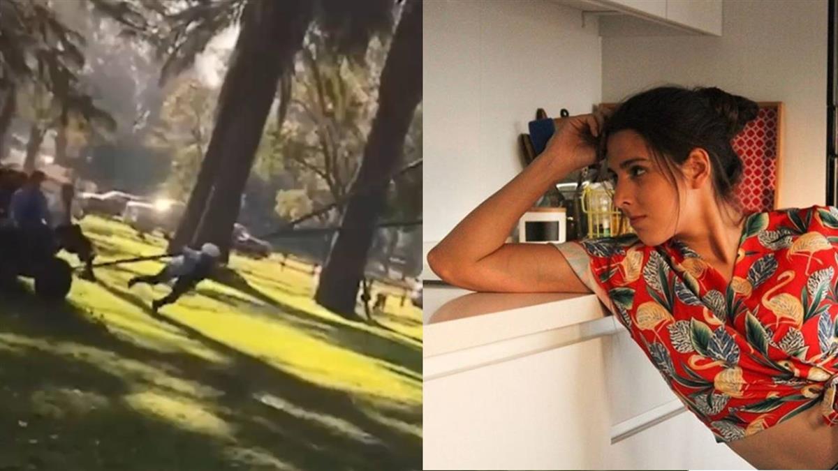 玩笑開大了!女模拍廣告被當「人體彈弓」彈飛險死