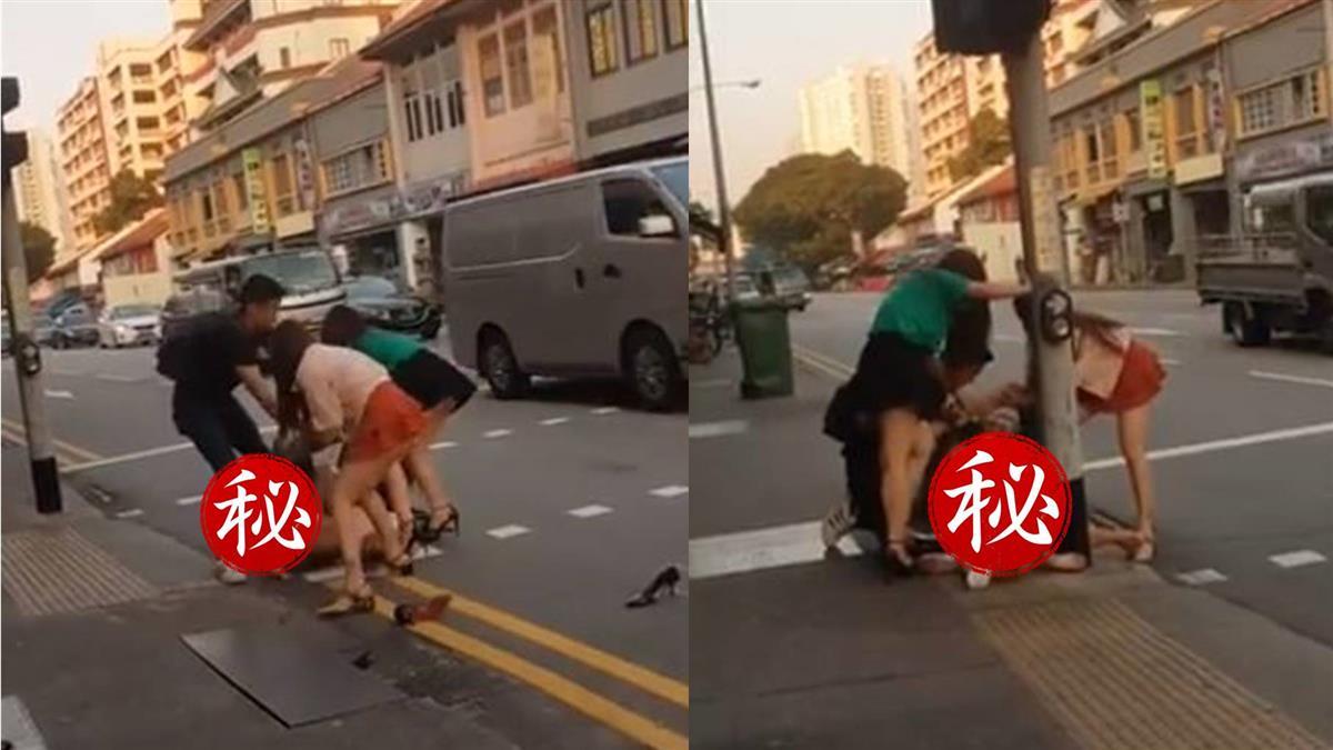 大街演全武行!4辣妹互毆掀裙…私密處被看光光