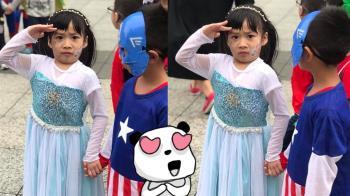 最萌反差!女童穿公主裝「大兵上身」  美國隊長看傻眼