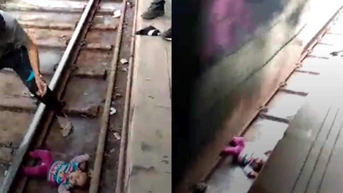 印度女嬰摔落列車月台間隙 奇蹟似毫髮無傷