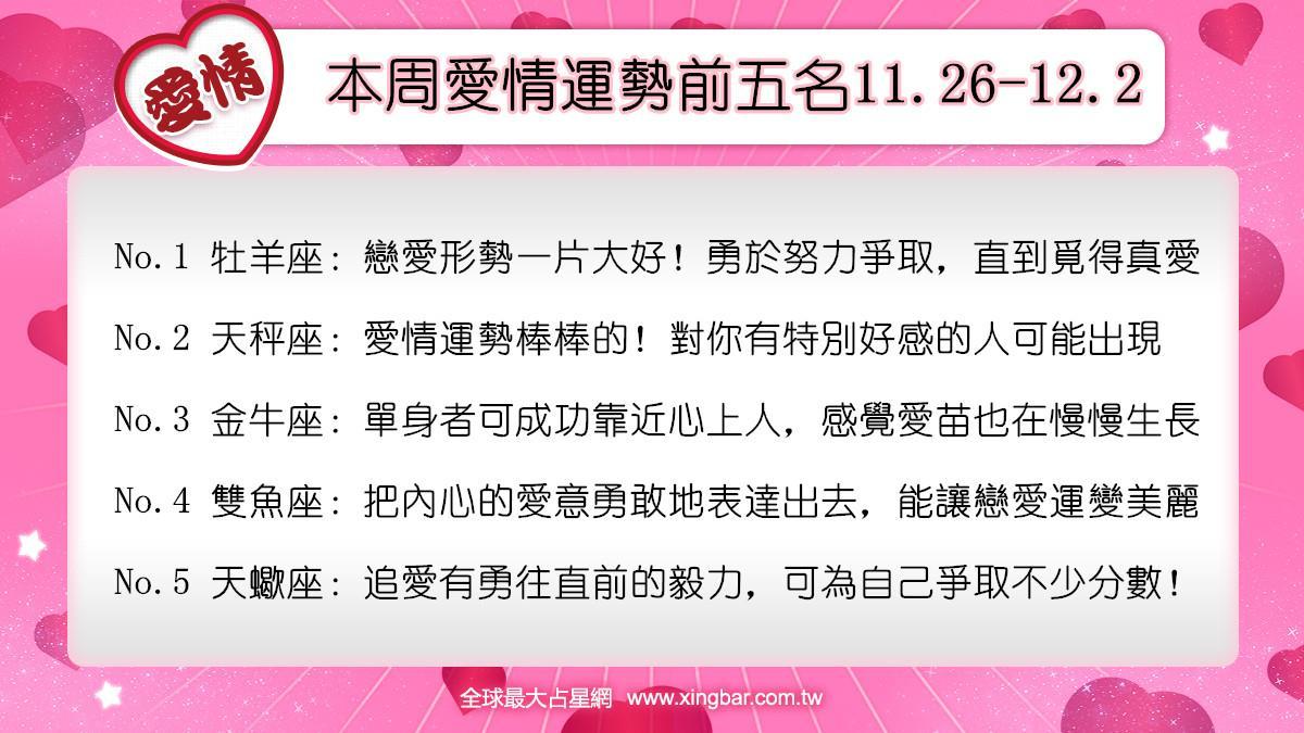 12星座本周愛情吉日吉時(11.26-12.2)