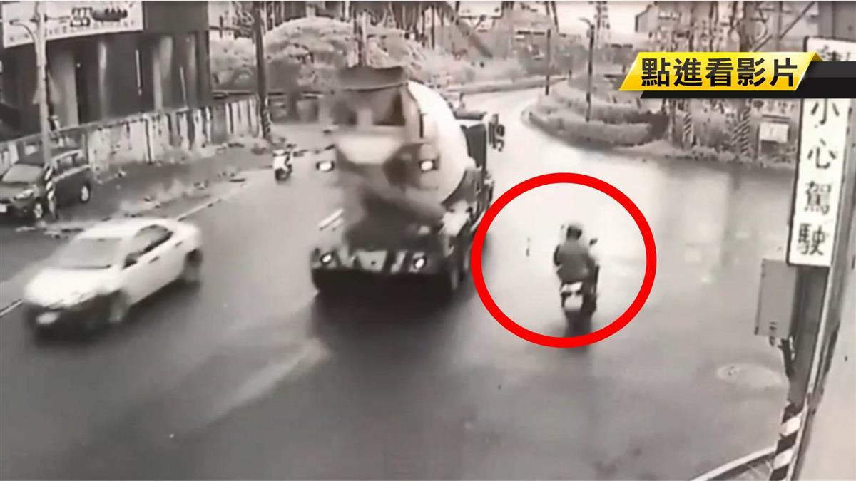 擦撞自摔遭水泥車輾 23歲騎士魂斷回家路