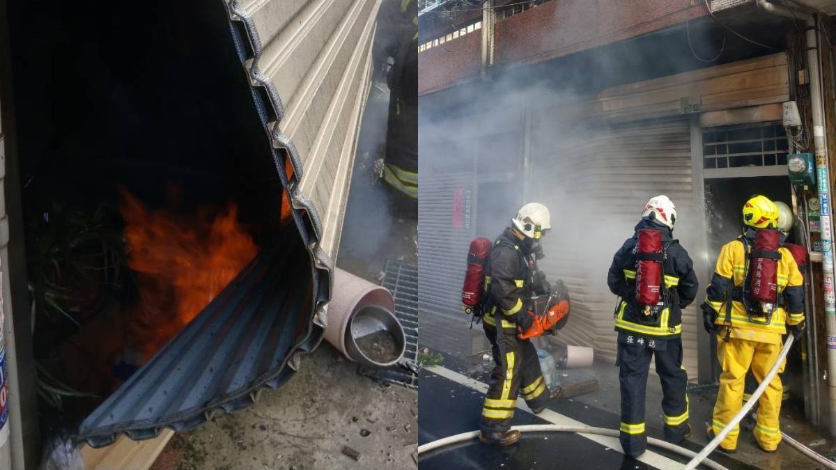 快訊/惡火猛竄!嘉義住宅火警引發氣爆 炸開鐵捲門
