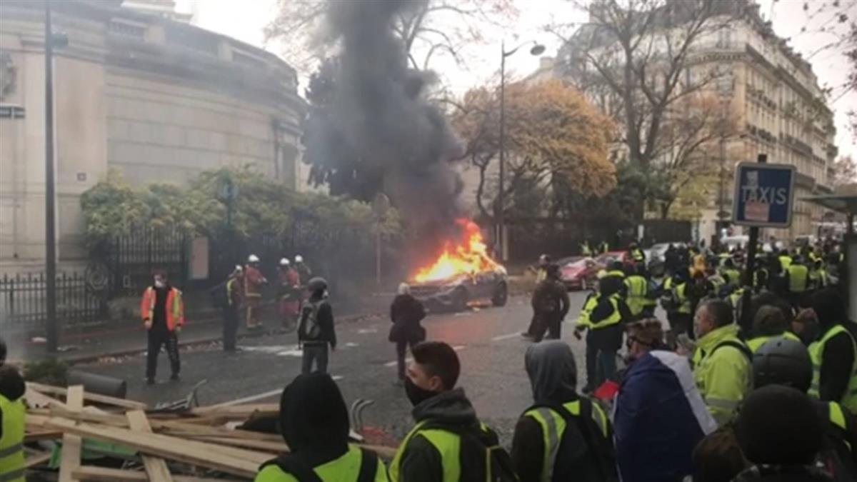 法黃背心第3波抗議爆發警民衝突 24人被捕