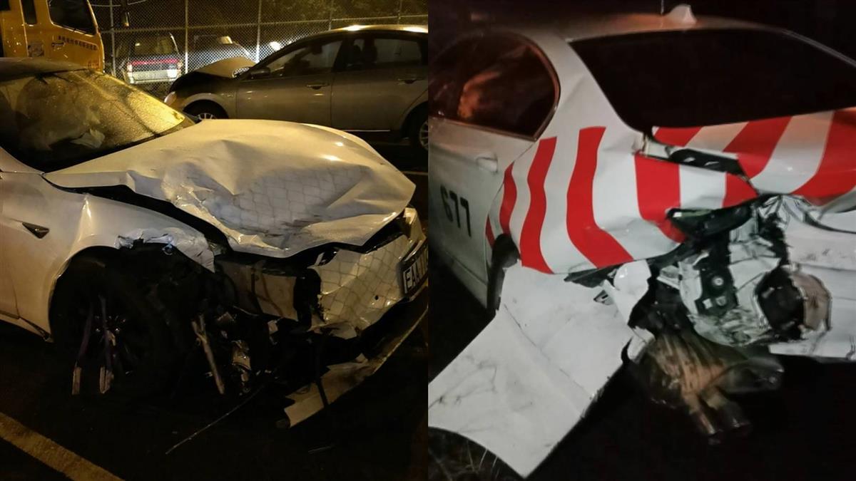台灣首例!特斯拉國道撞毀2警車 自動駕駛釀的禍