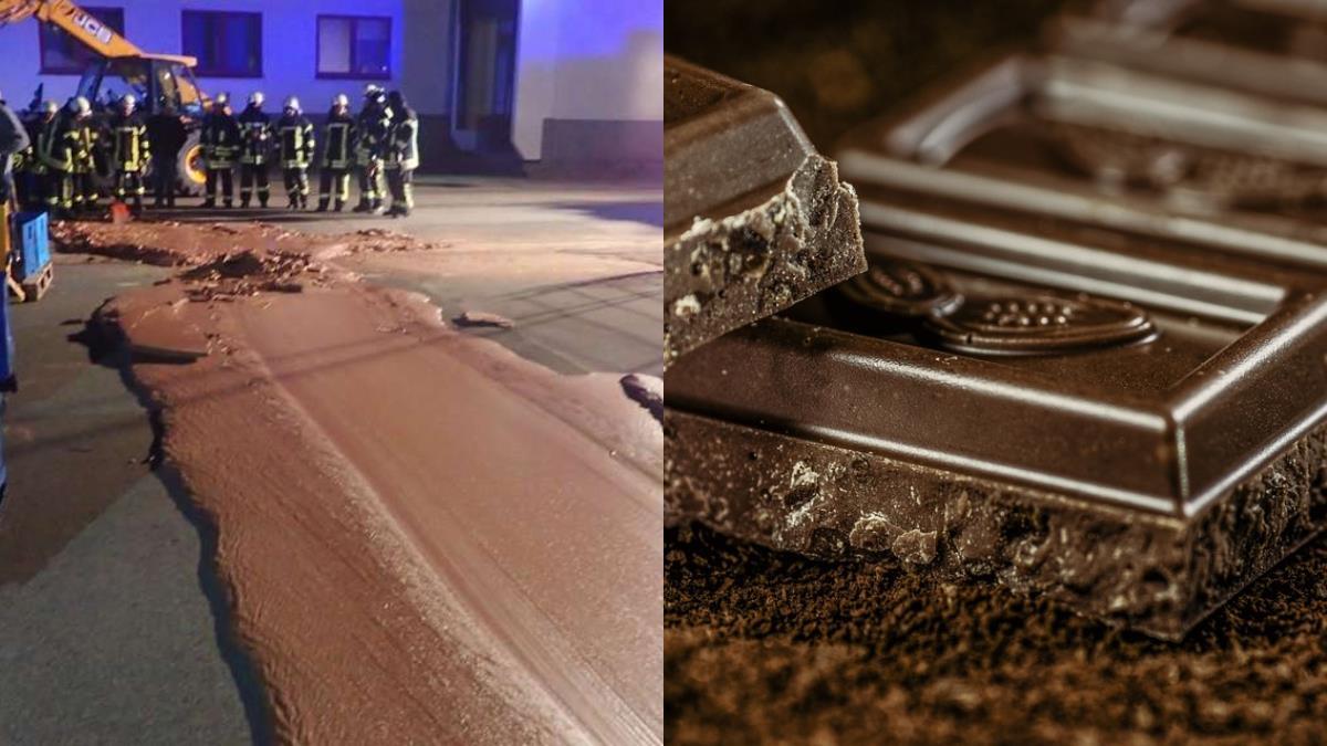 童話小鎮?1噸巧克力狂洩成河「鋪好鋪滿」