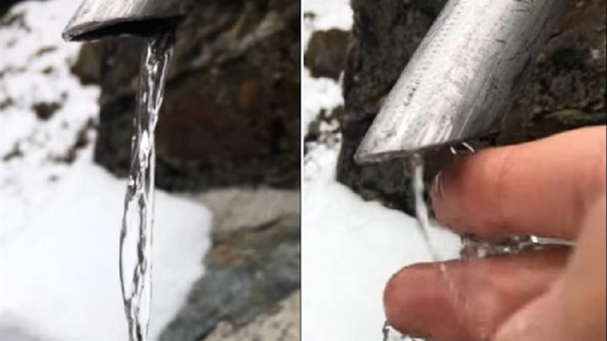 室外水龍頭凍成「冰柱」 手一碰穿透…秒變回流動水