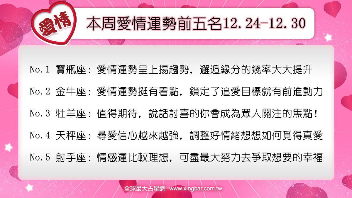 12星座本周愛情吉日吉時(12.24-12.30)