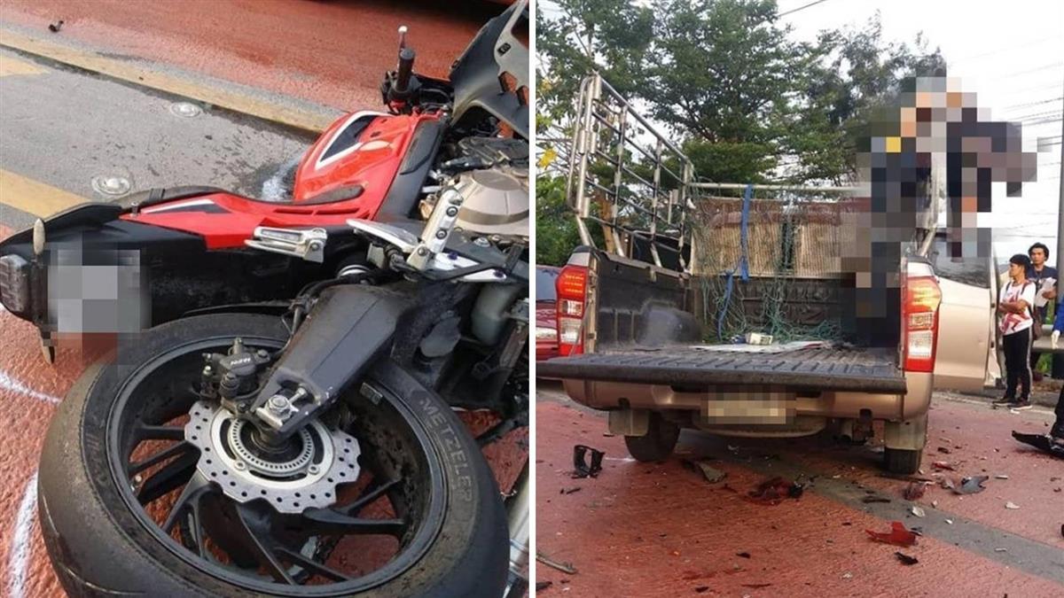 離奇!重機失控衝撞貨車 騎士噴飛「掛鐵架」對折慘死