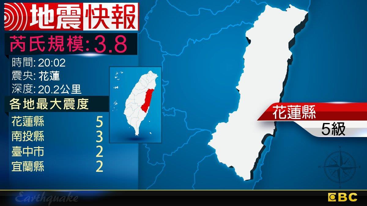 地牛晃動!20:02 花蓮發生規模3.8地震