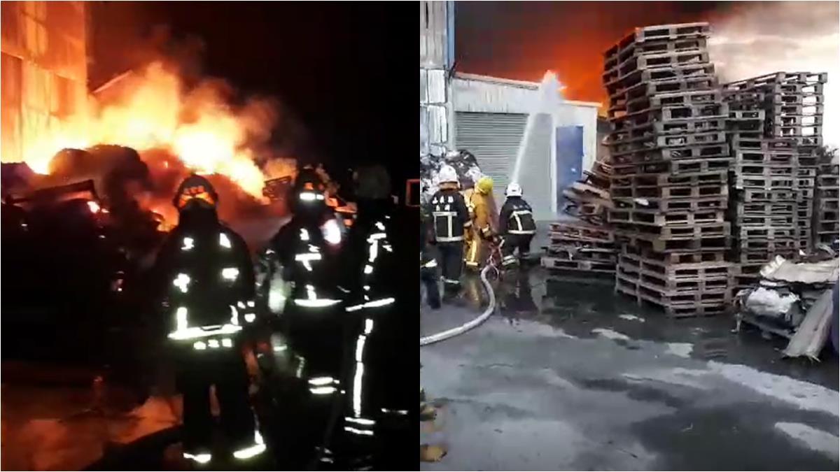 嘉義玻璃纖維工廠暗夜竄惡火 上萬坪廠房付之一炬