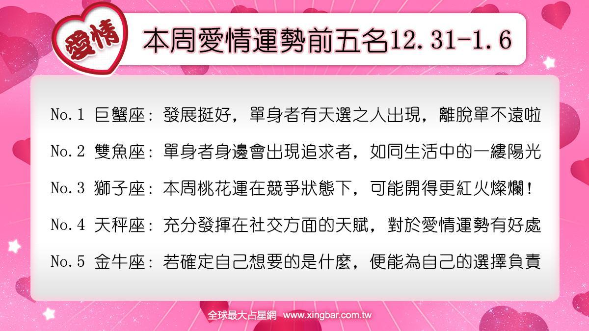 12星座本周愛情吉日吉時(12.31-1.6)