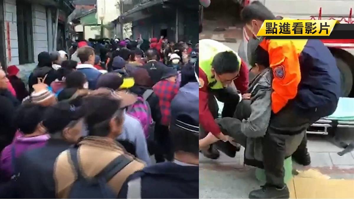 紫南宮元旦發錢母 2公里人龍…民眾推擠婦腳扭傷