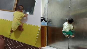 我想離家出走?8月嬰現驚人臂力「爬窗逃家」 萬人嚇傻