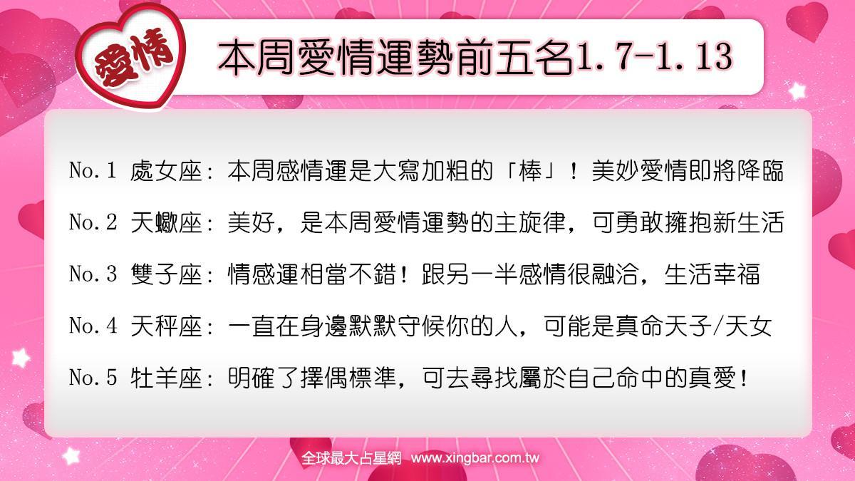 12星座本周愛情吉日吉時(1.7-1.13)