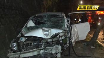疑飆速過彎失控自撞路樹 肇事駕駛測出酒駕