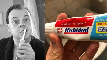 「瑞士牙膏好特別?」他嘴巴被黏緊 網噴笑:左轉笨版