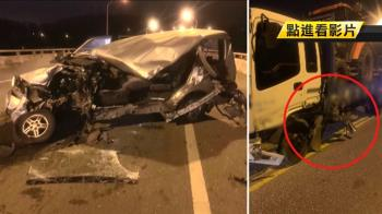 悚!休旅車高速對撞貨車削兩半 女駕駛頭部重創失血