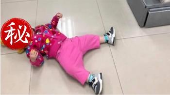 不給買麵包!1歲女鵝生恨意 躺地耍賴狠瞪媽媽