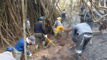 阿里山區森林火警 空勤直升機水袋灌救撲滅
