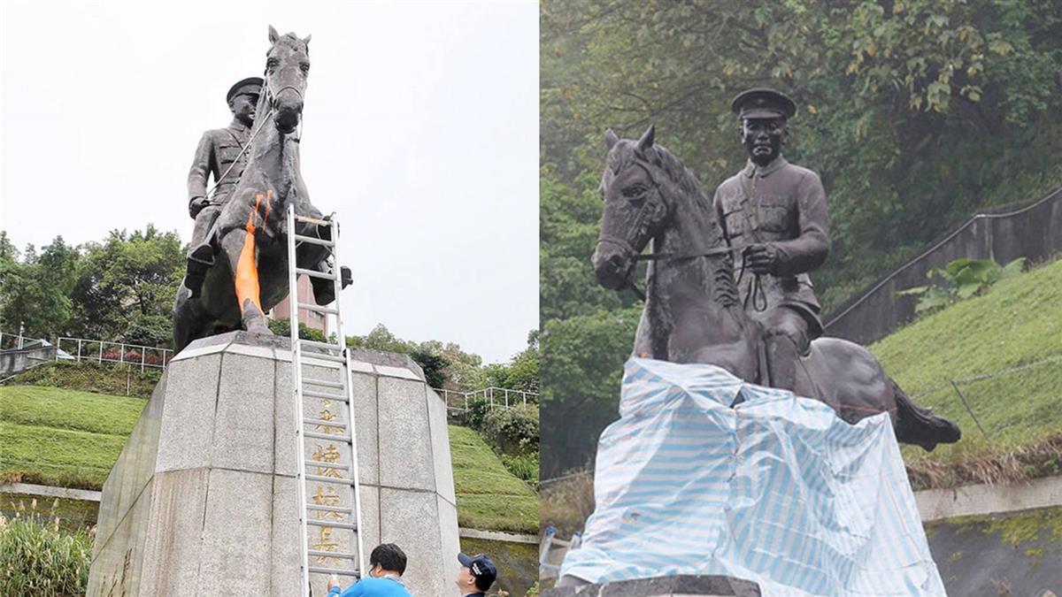 政大蔣中正銅像遭破壞 警:已鎖定涉案人