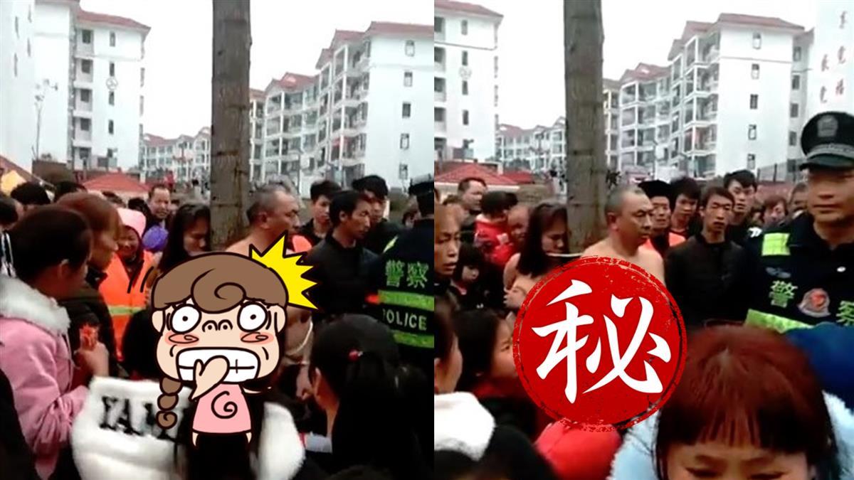 偷約砲被抓!全裸男女遭綁樹上公審 警察淡定旁觀