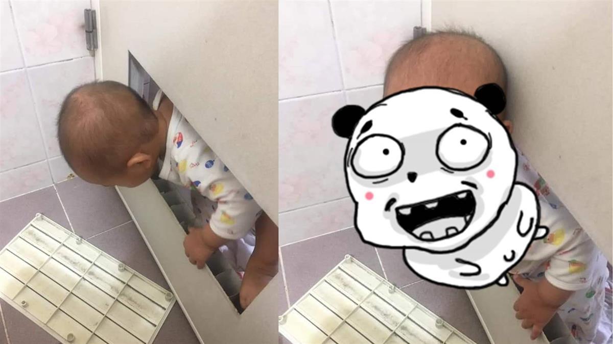 抓到了!上廁所遭破門 最強寶寶燦笑…媽哀號:還我自由