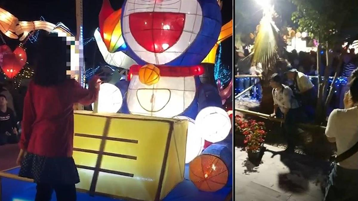 台灣燈會人潮擠爆 爬燈台、穿越燈飾險況多