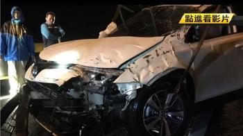 疑趕飛機天雨路滑撞翻車 國3自撞車禍1死2傷