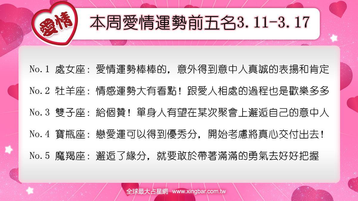 12星座本周愛情吉日吉時(3.11-3.17)
