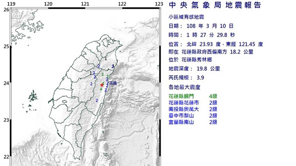 花蓮縣凌晨規模3.9地震  最大震度4級