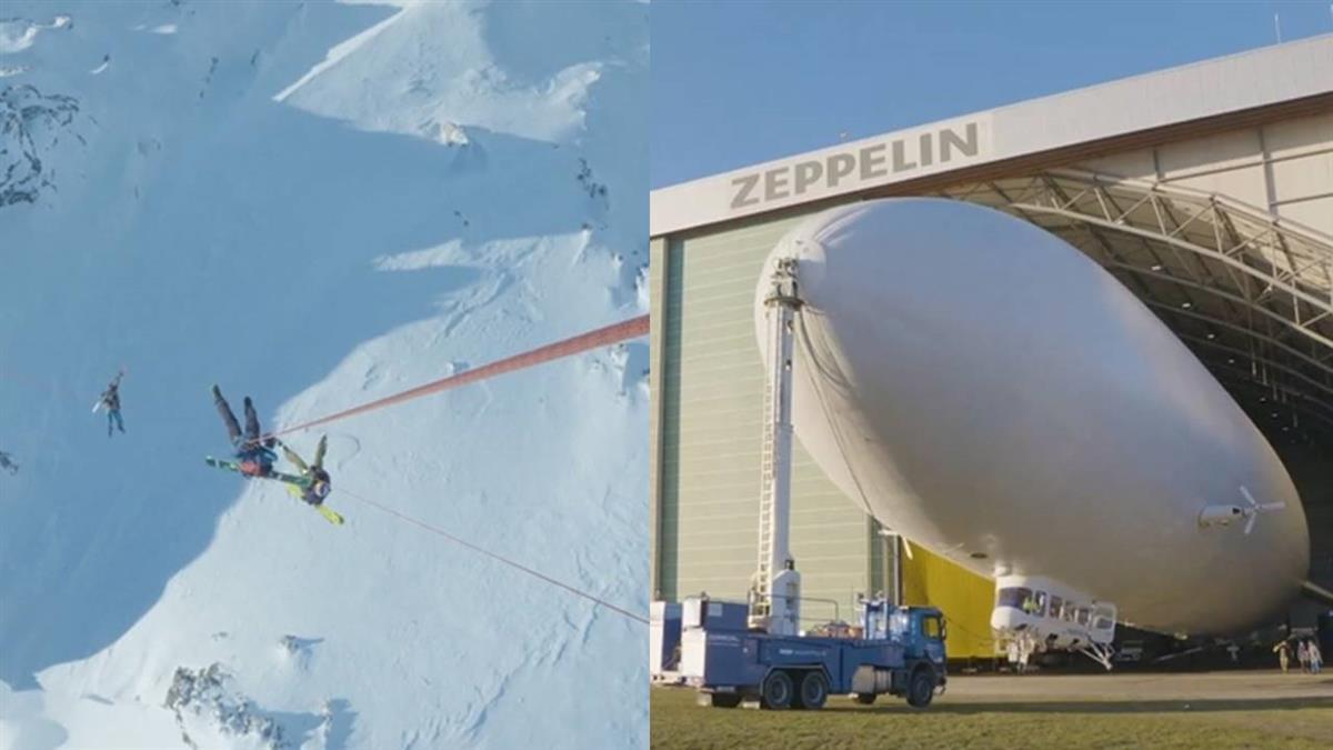 從空中垂降而下!國外滑雪好手 竟挑戰兩千公尺山峰