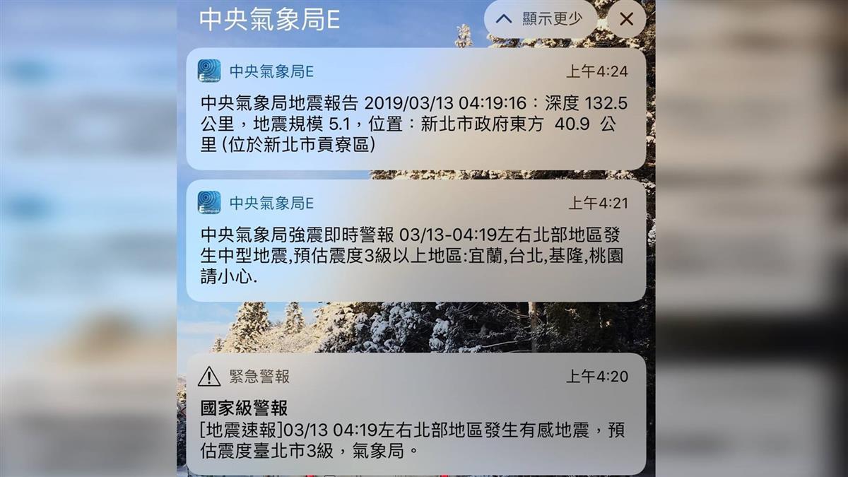 清晨傳來國家地震警報 氣象局:震度2級不該發