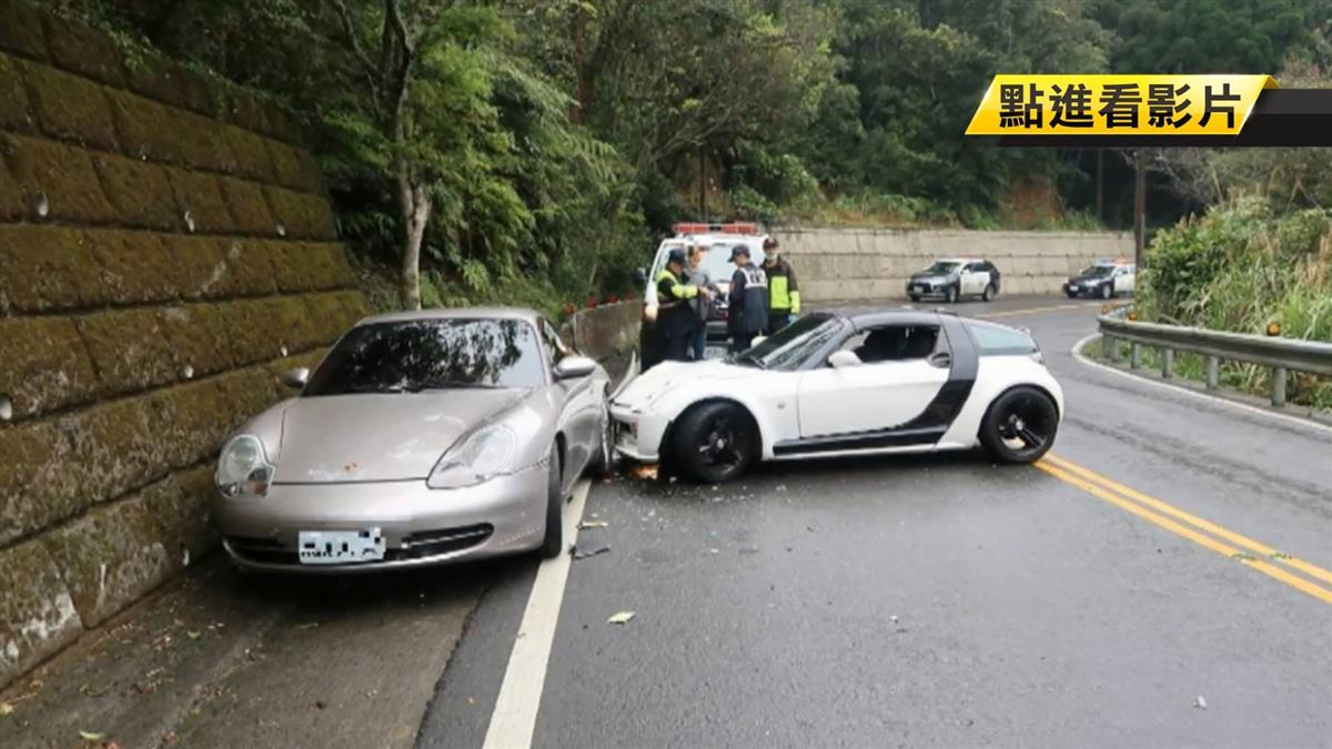 載子兜風…保時捷自撞山壁 再遭賓士追撞