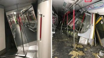 港鐵2列車對撞!車廂扭曲變形 如爆炸現場