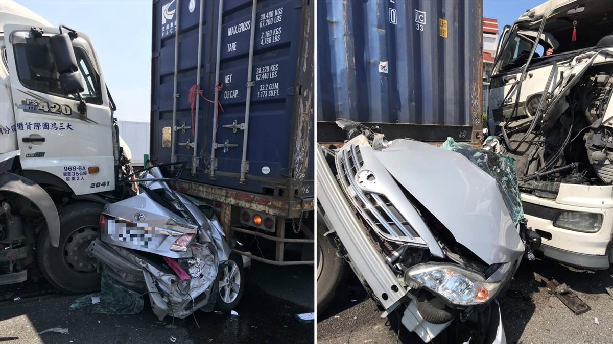 5車恐怖追撞!國1轎車遭聯結車夾擊 慘成廢鐵