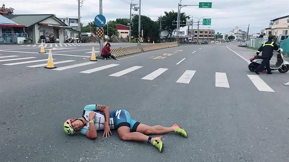 台東進行國際賽 台灣鐵人一哥謝昇諺遭擦撞跌倒