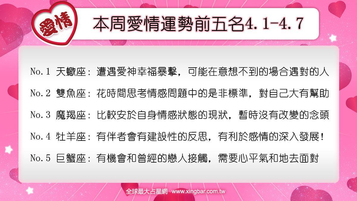12星座本周愛情吉日吉時(4.1-4.7)