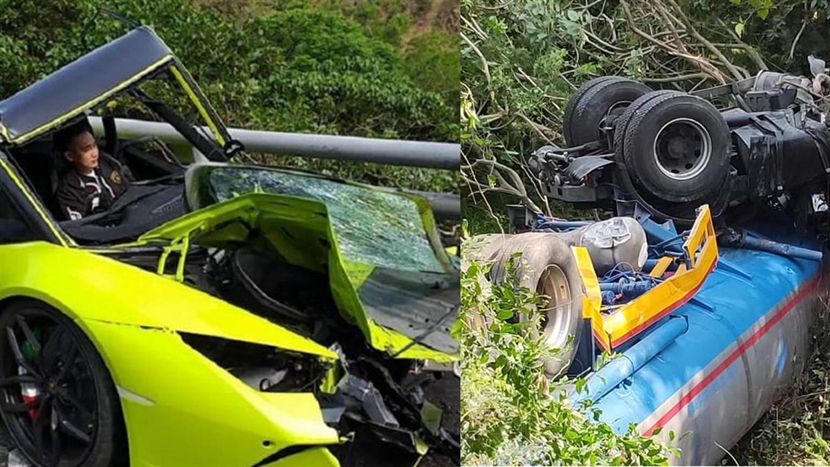 藍寶堅尼逆向撞油罐車!2駕駛受傷卡車內