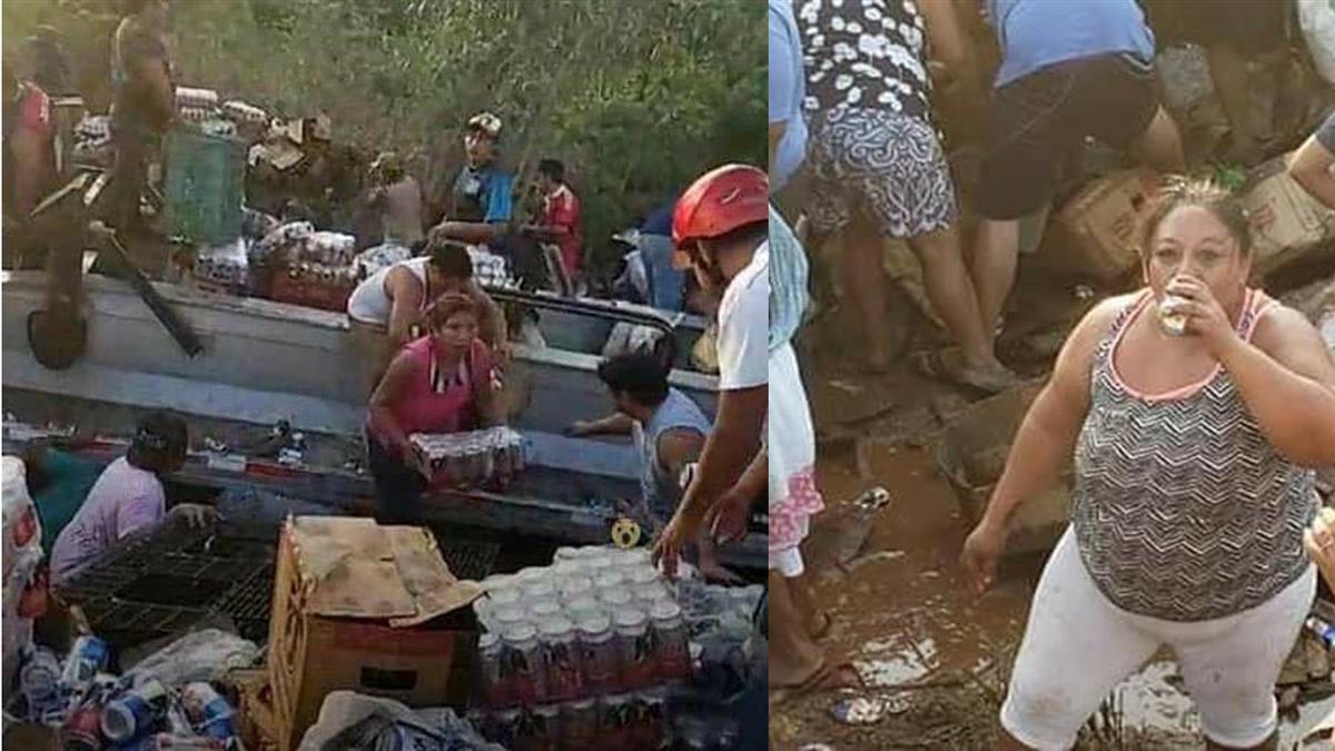 卡車翻覆啤酒散落一地 上百民眾湧進喝到飽
