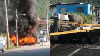 擦撞貨車起火…騎士噴飛困車斗慘遭燒死