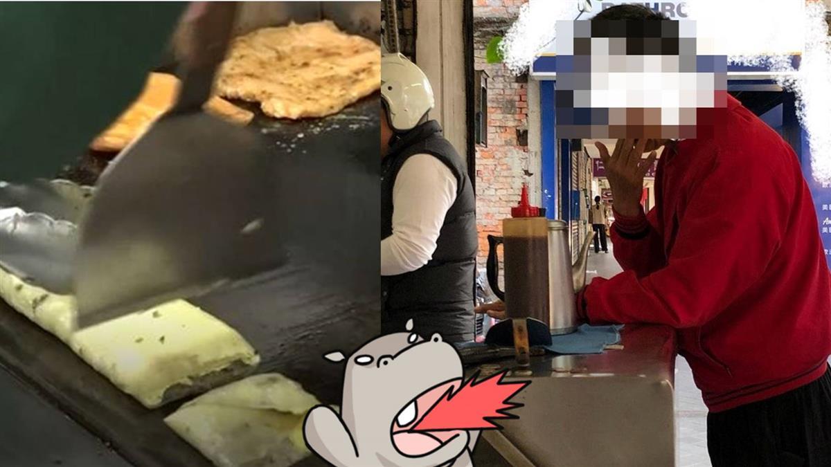 對早餐煎台猛咳3下!紅衣男回嗆一句…網罵翻