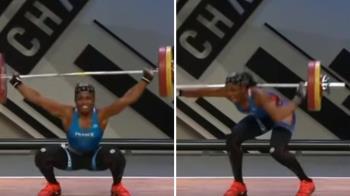 舉重女將挑戰107kg槓鈴 左手瞬間折斷