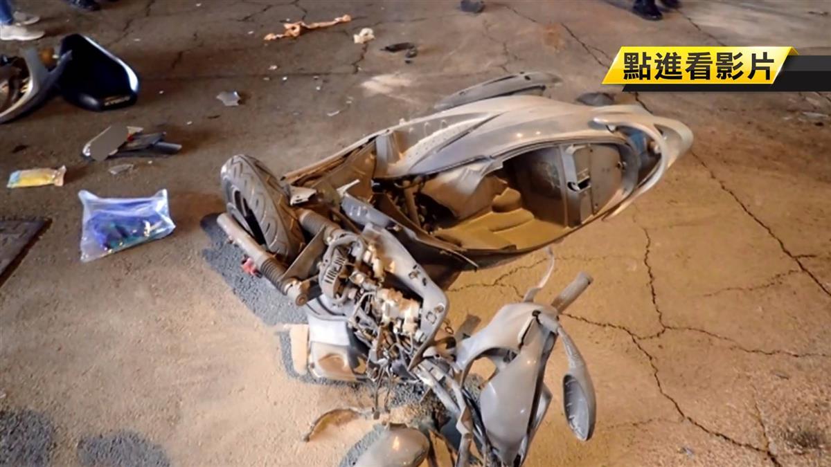 疑搶快!機車擦撞休旅車爆炸起火 騎士卡底盤亡