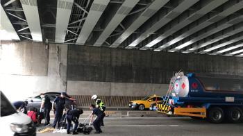 50歲男跳台北橋亡!遭油罐車輾撞 屍塊四散