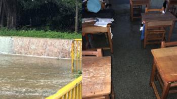 雨淹進教室!桃市大坡、笨港國小下午停課