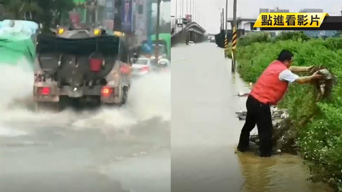 20年來最嚴重水災!豪雨狂炸轎車拋錨泡水中