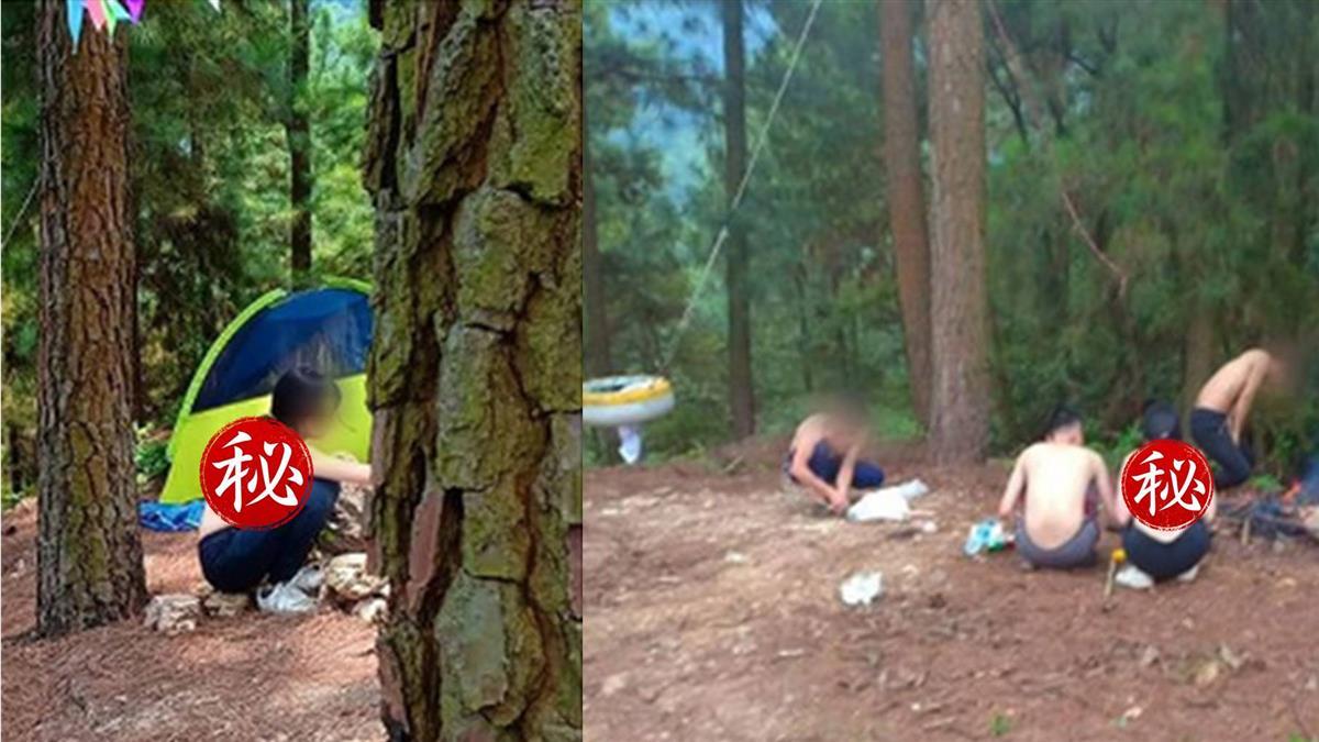 1女3男野外露營!上半身穿這樣 網傻眼